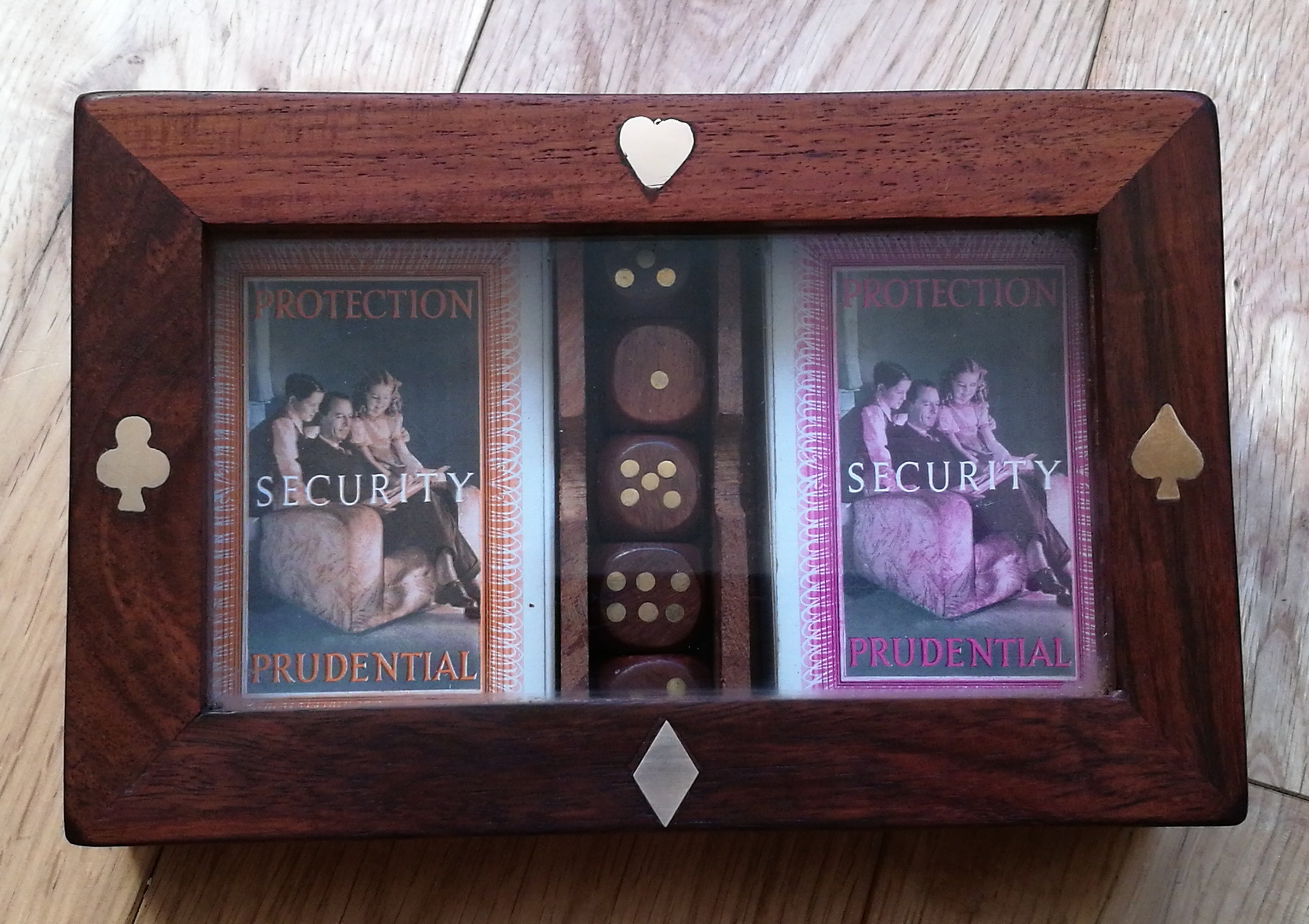 Dice In Wooden Box With Brass Inlay Learned Double Card Game Usa Seller!!!