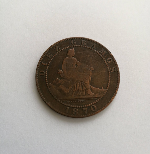 Antike Spanische Münze Diez Centimos 1870 Antike Spanische Etsy