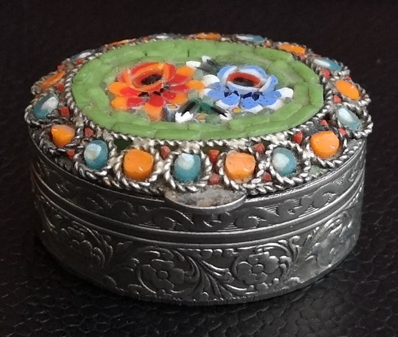 Floral Murano Style Pill Pot With Floral Tesserae Decoration To Lid. Vintage Small Metal Murano Style Pill Or Trinket Pot