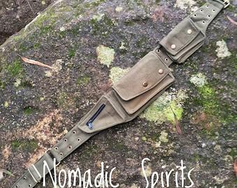 Green 4 pocket adjustable festival pixie pockets belt