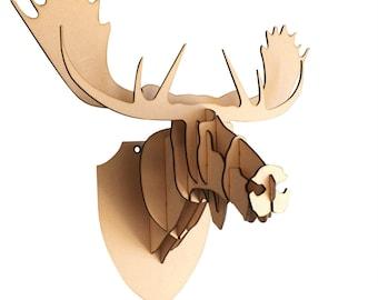 Wood Moose Head Etsy