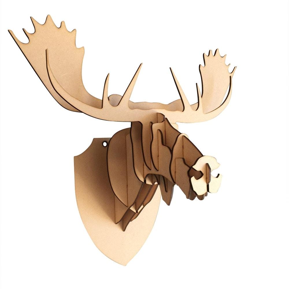 Große / kleine Holz Elch Kopf 3D Wand-Kunst-Home Decor 3D | Etsy