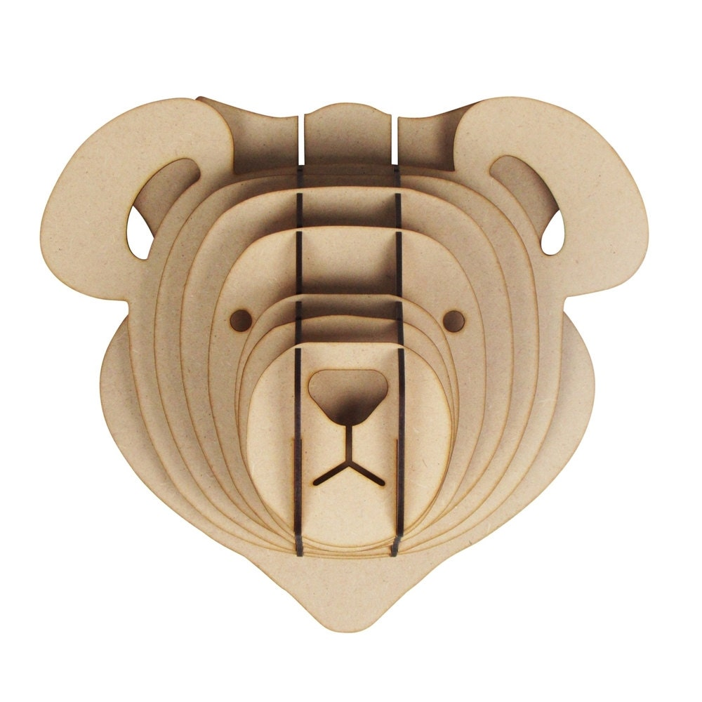 Large Small Wooden Teddy Bear Animal Trophy
