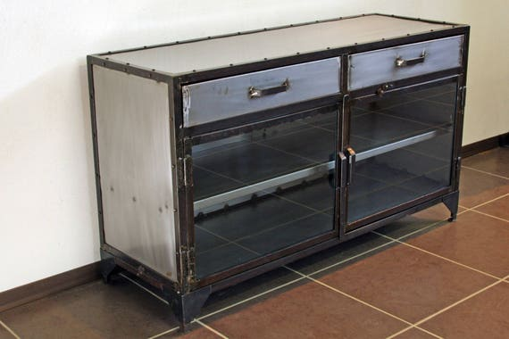 Metal Industrial Sideboard Has 2 Drawers Etsy