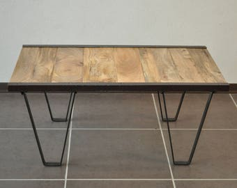 Industrial metal coffee table and solid wood
