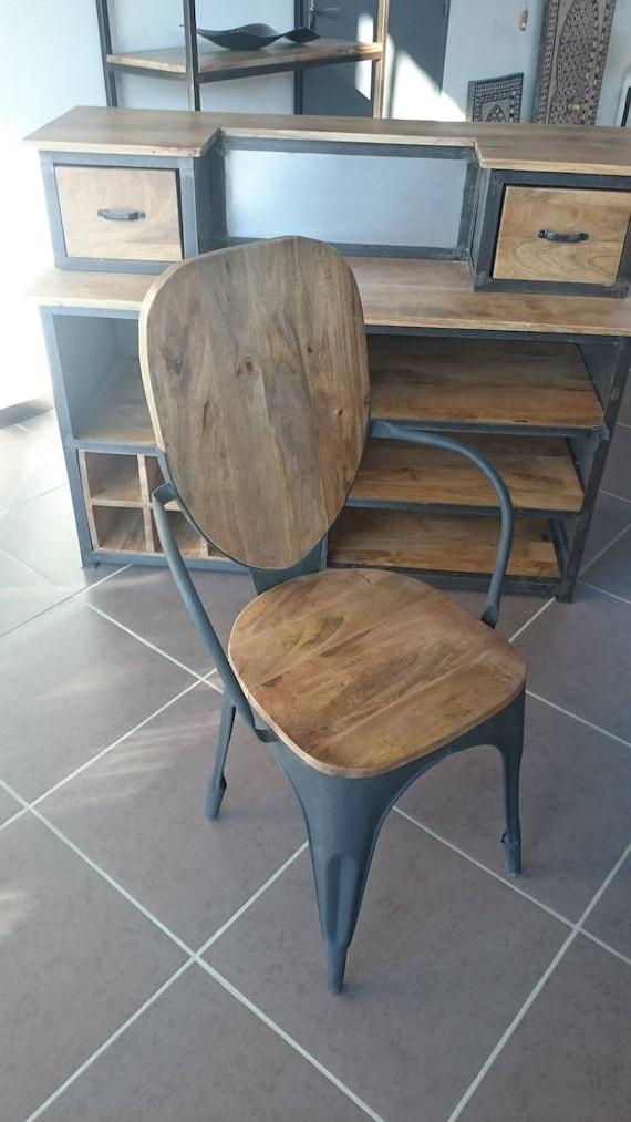 Chaise Industrielle Vintage Mtal Et Bois