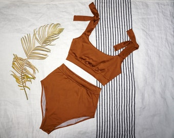 29dc651f1ac19 High Waist Caramel Two Pieces Minimal Swimsuit/ Vintage Style Swimwear