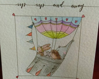 Hand drawn, watercolour, hot air balloon greetings card.