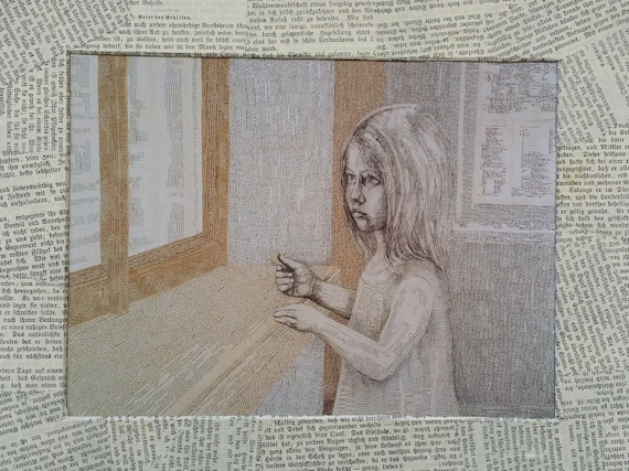 Literary gift for bookworms and book lovers: print reading girl, handmade book page passe-partout, child in a book room, out of the window