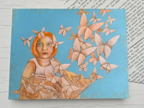 Literary card, for bookworms, Origami butterflies, girl reading, book, butterfly, book pages, gift card for girls, reading, for book lovers