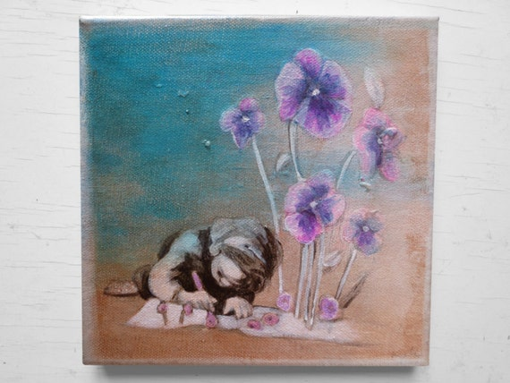 Acrylic painting, little girl painting, original, violets acrylic canvas,  picture flowers, flower picture nursery, painting girl, purple