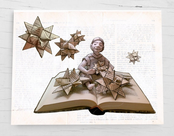 Christmas card for book lovers and  bookworms, holiday card Froebel star, handmade book page envelope, book art card for Christmas, star