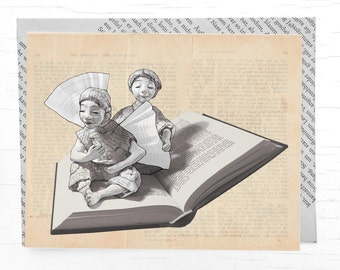 Card for book lovers: Christmas card, holiday card  angel, cards  for bookworms, book voucher, guardian angelcard, postcard for bibliophiles