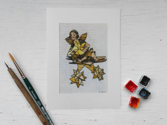 Hand-painted guardian angel, original, froebel star, unique art print on book pages, hand-painted, literary Christmas gift forbook lovers