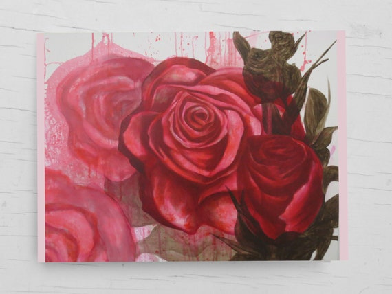 Birthday card flowers, card roses, greeting card flowers, wedding card floral, greeting card flower, card red, print roses, acrylic painting
