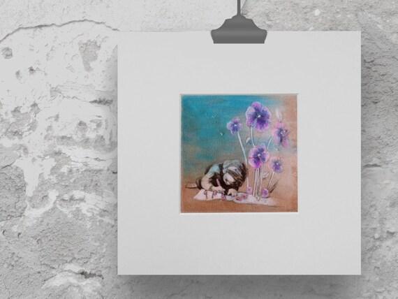art print violets, print children's room, flower print, girls bedroom décor, gift for girls, acrylic painting,  print violet, gift gardeners