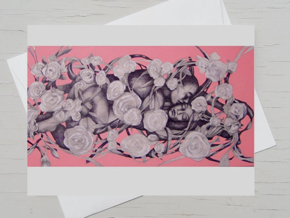 Romantic postcard, card  sleeping beauty,  valentins card, wedding congrats roses, card for lovers, wedding card kiss, wedding day card kiss