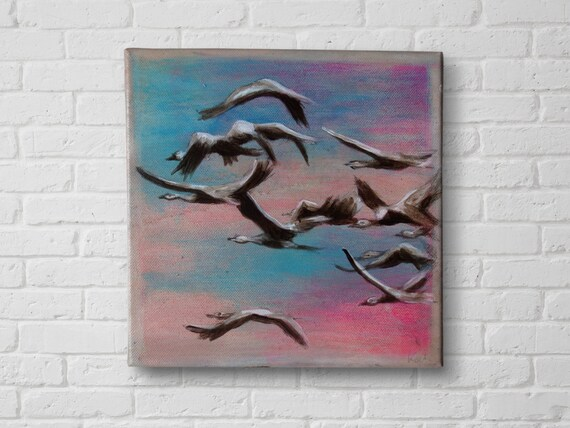 Crane Painting, Flock of bird painting, acrylic painting birds, original animal painting, Bird art, nature painting, bedroom art, art gift