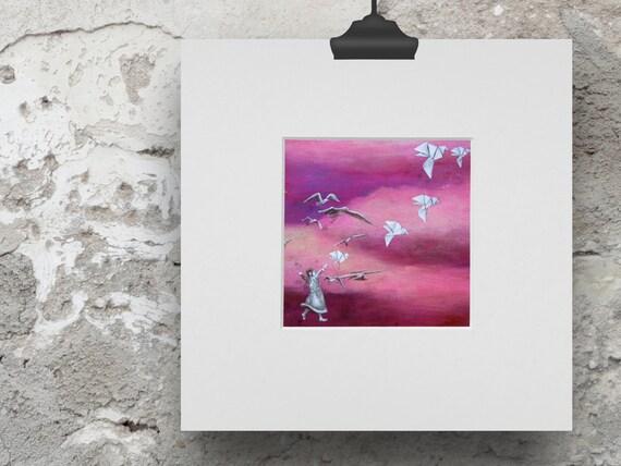 Paper crane, print, origami birds, dancing girl, print children's room, picture flock of birds, illustration migratory birds, small dancer