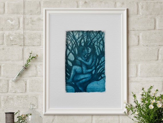 Gift for Valentine's Day, wedding gift, print kiss, love, picture bedroom, anniversary gift , Philemon and Baucis, print tree, etching