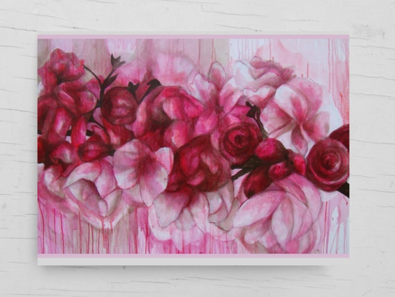 Birthday day card, pink flowers, cherry tree flowers, painting print, greeting card flower design, pink, card cherry, wedding congratulation