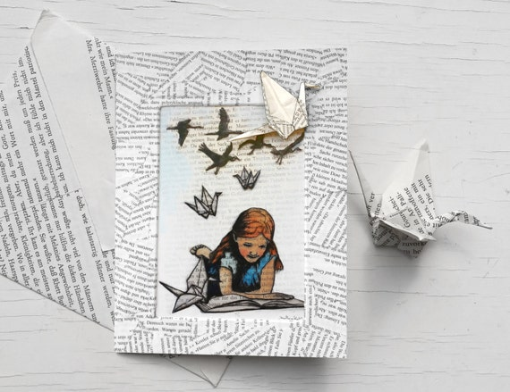 For book lovers: birthday card with white paper cranes, origami crane card for bookworms, handmade book page envelope, girl, literary gift