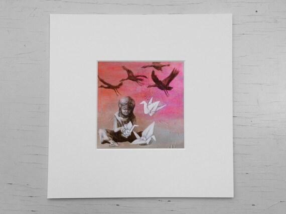 Paper crane, print children's room, art print birds, girl bedroom, gift for girls, acrylic painting, origami crane, gift for origami lovers,