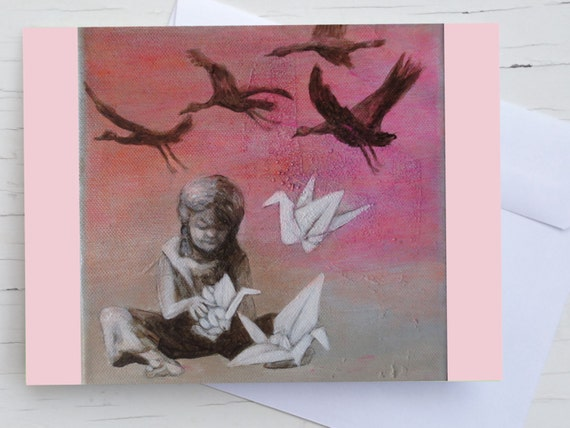 Origami cranes, congratulations card, pink birds, card paper crane, card for girls, birthday card, child, friendship card, card for daughter