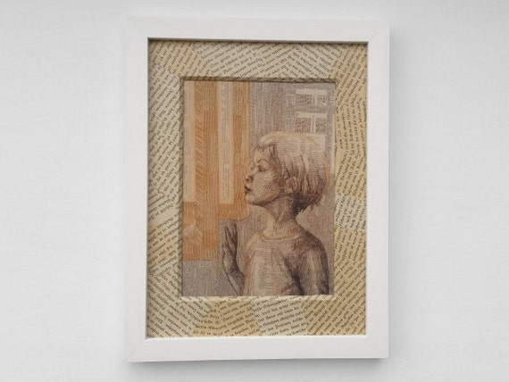 Literary gift for bookworms and book lovers: art print with handmade passe-partout from old, beloved book pages, girl looks into a book,