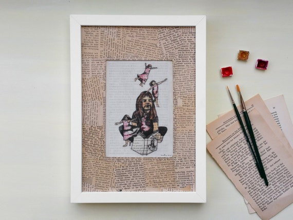 Original, Fairy Print, Art print bookworms, book art, fairy pink, fairies childrens room, art print fairy, print book page, painting girls