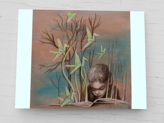 Greeting card for bookworms, reading child, turquoise birthday card, paper cranes, booklovers, card boy, card teacher gifts, for dad, son