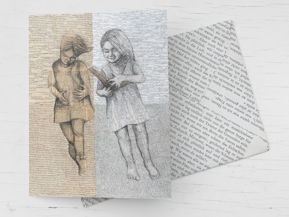 Congratulation card for bookworms, for avid readers, card with reading girls, book art collage, book voucher, handmade book page envelope