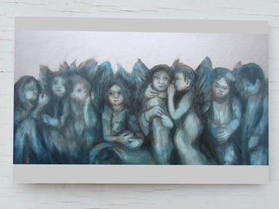 Christmas cards angels, silver Christmas card with host of angels, card angel, guardian angels card, silver card angel, Christmas card blue,