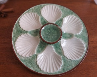 FRANCE FAIENCE VINTAGE OYSTER PLATE MAJOLICA  6 WELLS  EX COND GREEN S