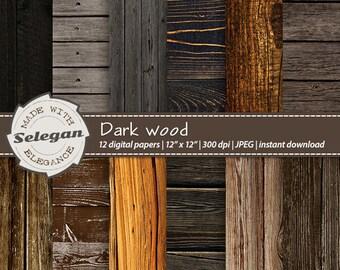 Wood Digital Paper Dark Distressed Texture Rustic Printable Old Wedding Background Scrapbook