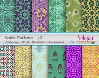 moroccan patterns digital scrapbook paper 12x12 printable etsy