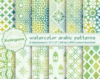 Watercolor digital paper Watercolor Arabic patterns 2   Etsy
