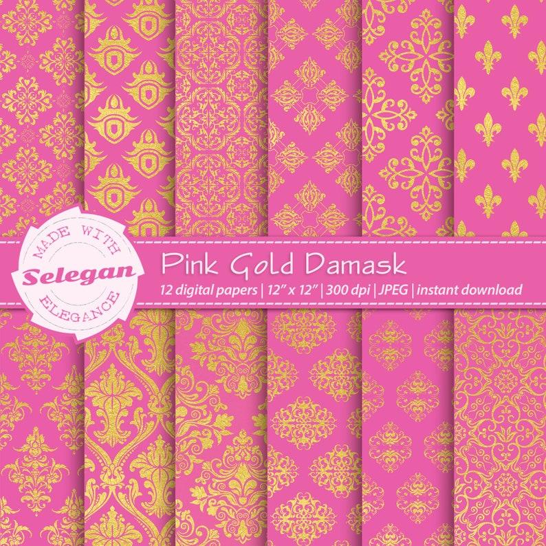 Pink Gold Damask Digital Printable Scrapbooking Paper 12x12 image 0