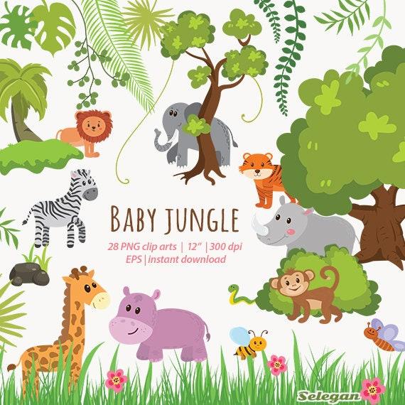 Jungle Animals Clipart Baby Jungle cartoon | Etsy
