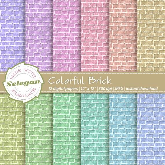 Brick Digital Paper Colorful Scrapbooking