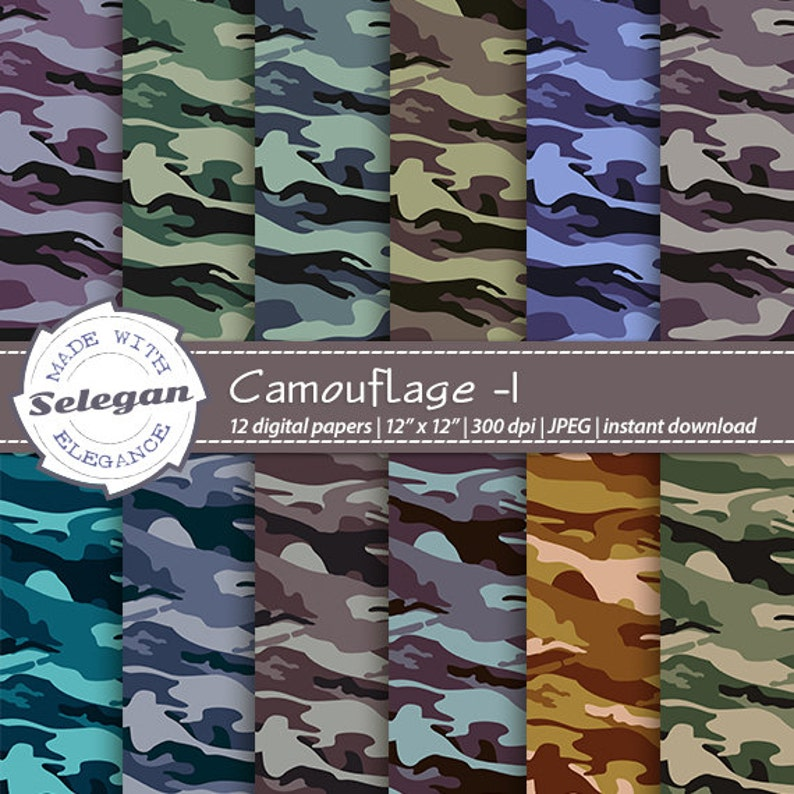 Military Art Camouflage 1 Digital Scrapbooking Paper Army 12x12 Printable Paper Military Pattern Texture Camouflage Fabric Background