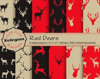 """Deer Printable """" Red Deers """" Deer Digital Paper, Deer Paper, Nature Paper, Deer Antlers, Digital Deer Paper, Deer Antler, printable paper"""