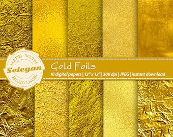 "Gold Foil Digital Paper "" Gold Foils "" Metallic Gold, Digital Paper, Gold Paper, Gold Backgrounds, Gold Foil Paper, Gold Scrapbook Paper"