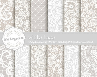 WHITE LACE  12x12  wedding themed patterns for digital and printing needs
