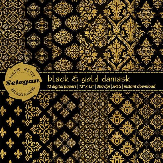 Black And Gold Damask Digital Scrapbook Paper 12x12 Royal Etsy