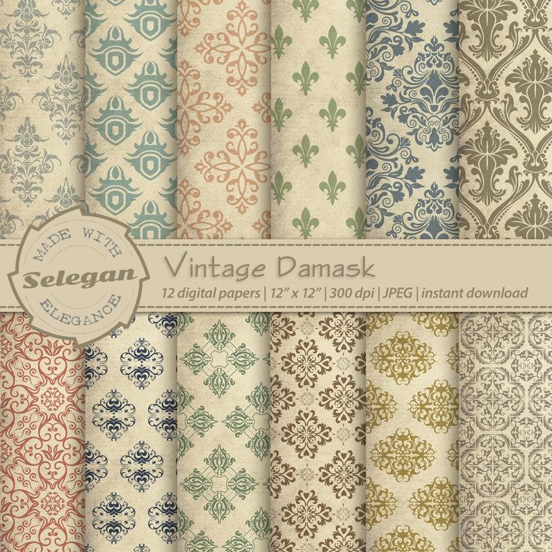 VINTAGE DAMASK  digital printable victorian pattern backdrops image 0