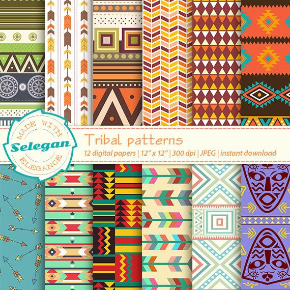 Digital Paper Tribal Patterns Scrapbooking Paper 60x60 Etsy Magnificent African Tribal Patterns