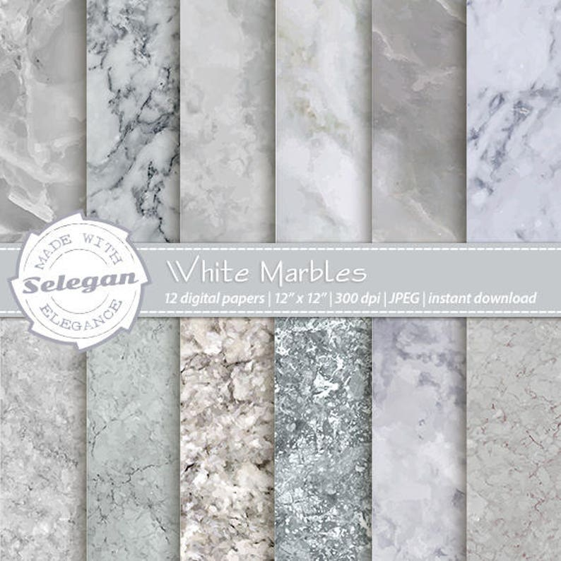 Marble Digital Paper:  White Marbles    marble image 0