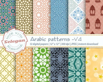 "Eid print "" Arabic Patterns- V4 "", Digital Paper, Scrapbooking, Paper, 12x12, Printable, Arabic, Pattern, Islamic, Eid, Background, Download"