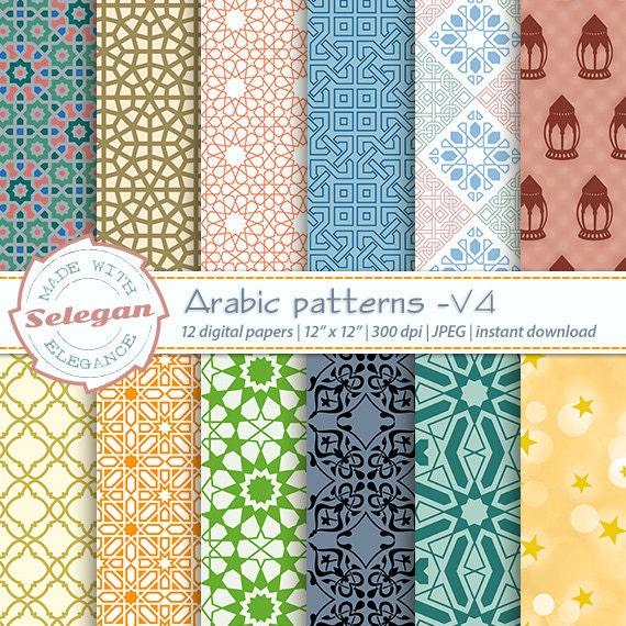 Eid Print Arabic Patterns V4 Digital Paper Etsy